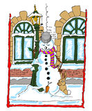 Snowman leaning against a lamppost with a rabbit. Frustrated snowman leaning against a lamppost with a rabbit gazing at his carrot nose as it fell out of his Royalty Free Stock Photos