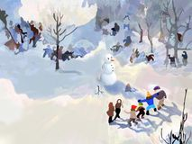 Snowman Legend. Kids playing in the snow and watching a snowman Royalty Free Stock Photos