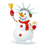 Snowman of liberty. Christmas snowman with a bell and a gift in style of the Statue of Liberty Stock Photography
