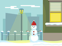 Snowman in the light of a lantern in the winter. Vector snowman in the light of a lantern in the winter Stock Image