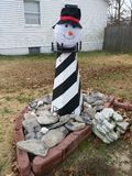 Snowman Lighthouse Royalty Free Stock Images