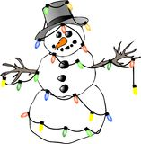 Snowman lights stock photo