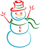 Snowman Lineart. Stylized lineart illustration of a snowman vector illustration