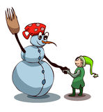 Snowman and Little Elf Friendship. Stock Image