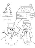 Snowman and Little Girl. Useful as coloring book for kids royalty free illustration