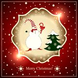 Snowman with Lollipop and Christmas tree on a red background with lights. Royalty Free Stock Image