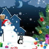 Snowman and lonely cat Stock Images