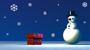 Snowman looking at a gift box Stock Images