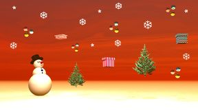 Snowman looking at gifts, balls and fir trees flyi. Snowman wearing a black hat and looking at gifts, balls and fir trees flying in the red snowing sky Royalty Free Stock Image