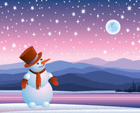 Snowman looking at the moon Stock Image