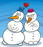 Snowman in love Royalty Free Stock Image