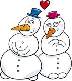 Snowman in love Stock Photos