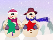 Snowman in love Stock Images