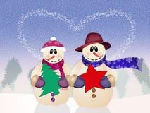 Snowman in love Stock Photos