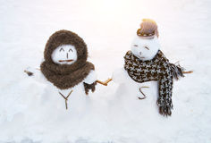 Snowman love Royalty Free Stock Photography