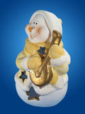 Snowman with lute. Royalty Free Stock Photos