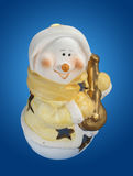 Snowman with lute Royalty Free Stock Images