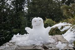Snowman made of fresh white snow royalty free stock image