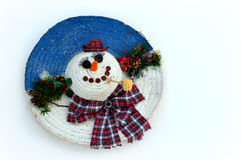 Snowman Made Out of Straw Hat Royalty Free Stock Photo