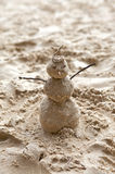 Snowman made of sand. Royalty Free Stock Photography