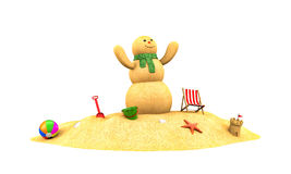 Snowman made from sand rejoice Royalty Free Stock Photos