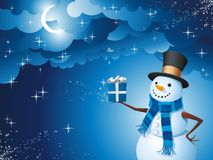 Snowman magic gift Stock Images