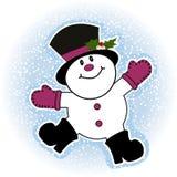 Snowman making snow angel. Mistletoe tucked into his hat Royalty Free Stock Photos