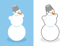 Snowman. Man made of snow for new year. Cute Christmas character Stock Photography