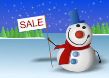 Snowman is marked Sale Stock Photo