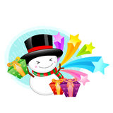 Snowman mascot the hand is holding a Gift Box. Christmas Charact Royalty Free Stock Image