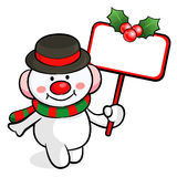 Snowman mascot the hand is holding a picket. Christmas Character Stock Photos