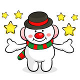 The Snowman mascot has been welcomed with both hands. Christmas Stock Photography