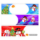 Snowman Mascot using a variety of banner designs Royalty Free Stock Photos