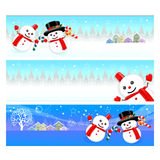 Snowman Mascot using a variety of banner designs Stock Photo
