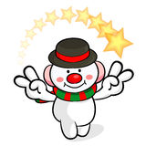 Snowman Mascot victory gesture. Christmas Character Design Serie Stock Image