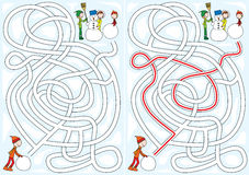 Snowman maze. Winter maze for kids with a solution royalty free illustration