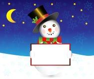 Snowman med banerjulillustrationen Fotografering för Bildbyråer