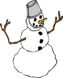 Snowman med en hinkhatt Arkivfoto