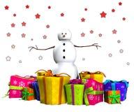 Snowman med gåvor Fotografering för Bildbyråer