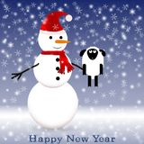 Snowman med scarfen Arkivfoton
