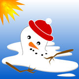 Snowman Melt. Snowman in red hat melting in hot sun Royalty Free Stock Image