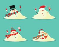 Snowman melted. flat illustration in cartoon style isolation on a blue background. royalty free illustration