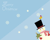 Snowman in merry Christmas card Stock Images