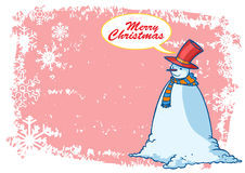 Snowman Merry Christmas Greetings Illustration Stock Photography