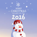 Snowman Merry Christmas and Happy New Year 2016. Snow fall background stock illustration