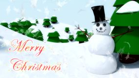 Snowman Merry Christmas happy waving animation winter snowflakes falling stock footage