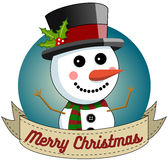 Snowman Merry Christmas Round Frame Stock Images
