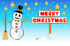 Snowman with a Merry Christmas signpost Royalty Free Stock Photo