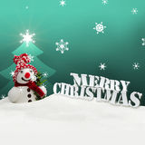 Snowman Merry Christmas turquoise Royalty Free Stock Photography