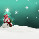 Snowman Merry Christmas turquoise Royalty Free Stock Photo